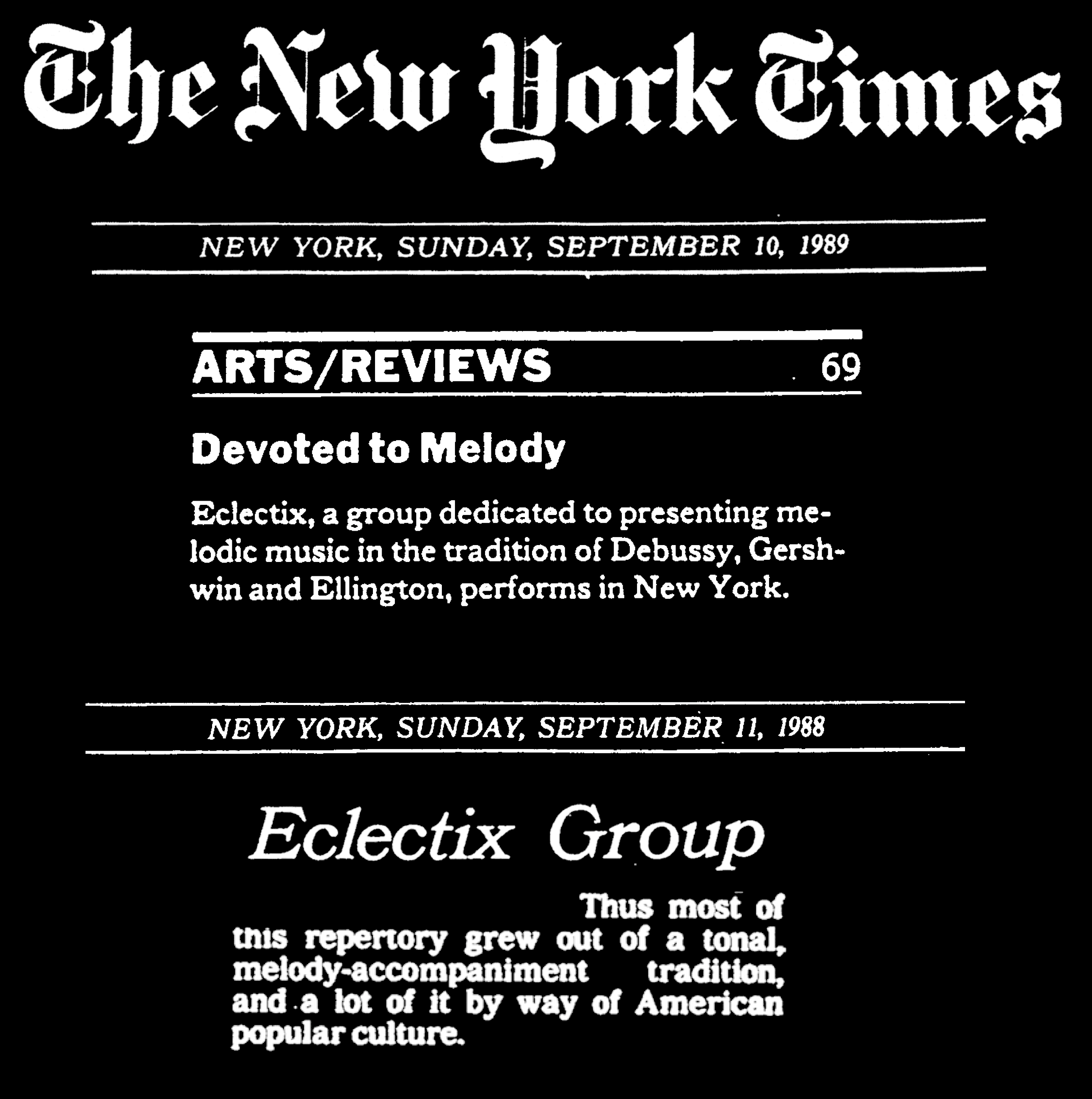 New York Times, 2 quotes from reviews